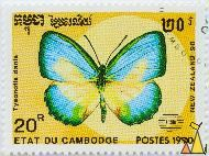 Large Green-banded Blue, Etat du Cambodge, Cambodia, stamp, insect, butterfly, NZ 1990, New Zealand-90. Postes, 1990, 20 R, Tysonotis danis, Danis danis