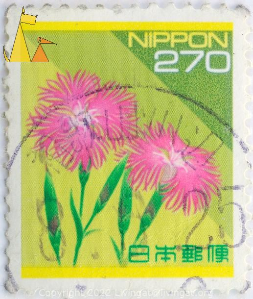 Large Pink on Yellow, Nippon, Japan, stamp, plant, flower, 270, Dianthus superbus