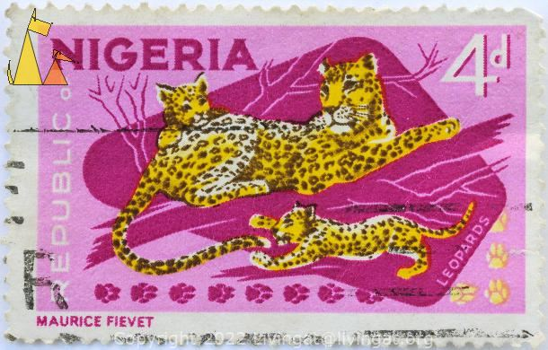 Leopard Mother, Republic of Nigeria, Nigeria, stamp, mammal, Panthera pardus, young, 4 d, Leopards, Maurice Fivet, pink