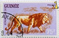 Lion on the Savannah, Republique de Guinee, Guinea, stamp, mammal, Panthera leo, Postes, 75 F