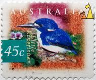 Little Kingfisher, Australia, stamp, bird, Little kingfisher, 45 c, 1997, Alcedo pusilla