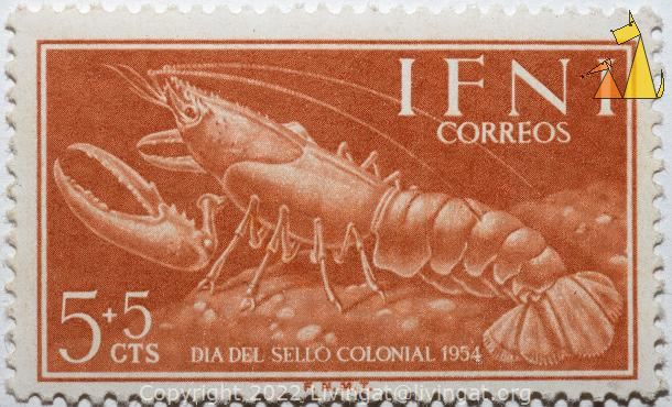 Lobster, Ifni, stamp, shellfish, lobster, crustean, 5+5 cts, correos, Dia del sello colonial, 1954, F.N.M.T.