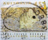 Long-tailed Dunnart, Australia, stamp, mammal, mouse, 1992, treatened species, 45 c, Sminthopsis longicaudata