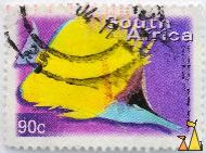 Longnose Butterflyfish, South Africa, stamp, fish, 90 c, Chris von Rooyen, Forcipiger flavissimus
