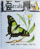 Macleays Swallow Tail, Austalia, stamp, insect, butterfly, 20 c, Graphium macleayanus