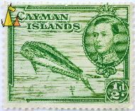 Mahi-Mahi, Cayman Islands, stamp, fish, crown, ½ d, King Georg VI, Coryphaena hippurus
