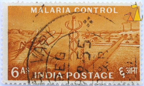 Malaria Control, India, stamp, symbol, insect, farming, brown, snake, 6 As, Postage