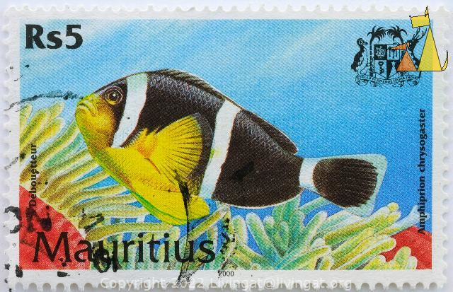 Mauritian Anemonefish, Mauritius, stamp, fish, coat of arms, dodo bird, 2000, Debouetteur, 5 Rs, Amphiprion chrysogaster