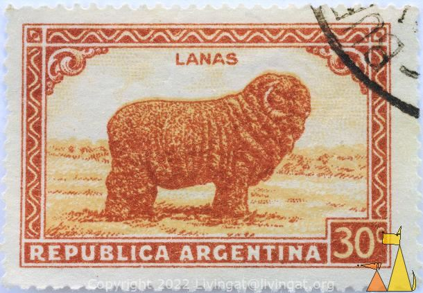 Merino Sheep, Republica Argentina, Argentina, stamp, mammal, farming, cattle, 20 c, Lanas, Lana