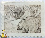 Moose Portrait, USA, stamp, mammal, deer, Alces alces, 18 c