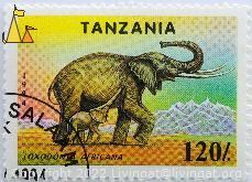 Mother Elephant with Young, Tanzania, stamp, mammal, mother, 120, 1994, Loxodonta africana