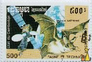 Natterer's Bat and Satellite, Etatu du Cambodge, Cambodia, stamp, mammal, bat, space, satellite, Myotis nattereri, Postes, 1993, 500 R, Faune et Technique
