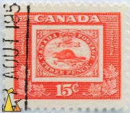 North American Beaver, Canada, stamp, mammal, red, 1951, 1851, 3, Postage, VT, Three Pence, 15 c, Postes, stamp on stamp