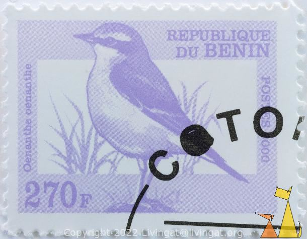Northern Wheatear, Republique du Benin, Benin, stamp, bird, Postes, 2000, 270 F, Oenanthe oenanthe