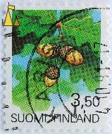 Oak leaves and acorns, Suomi, Finland, stamp, plant, flower, 3.50, Quercus robur