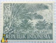 Oilpalms, Republik Indonesia, Indonesia, stamp, plant, crop, palm, 5 Sen, Kelapa sawit, Elaeis guineensis