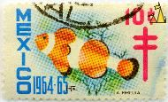 Orange clownfish, Mexico, stamp, fish, 1964, 1964.65, 10 c, Amphiprion percula