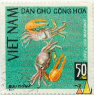 Orange fiddler crabs, Viet Nam, Vietnam, stamp, fish, crab, 1968, Buu Chinh, 50 Xu, Cong, Uca marionis, Dan Chu Chong Hoa, Uca vocans