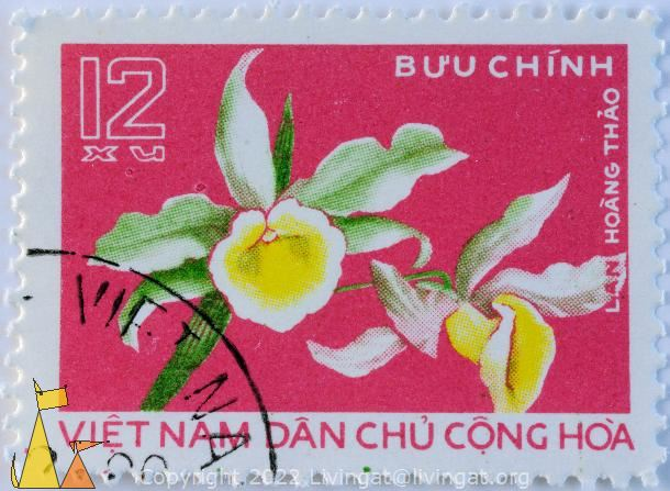 Orchid on red, Viêt Nam, Vietnam, stamp, plant, orchid, flower, Lan hoang thao, Buu chinh, 12 xu, Dan cong hoa