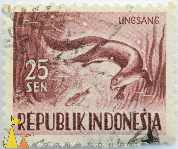 Oriental Small-clawed Otter, Republik Indonesia, Indonesia, stamp, mammal, fish, 25 Sen, Lingsang, Aonyx cinerea, Aonyx cinereus