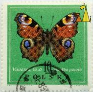 Peacock, Polska, Poland, stamp, insect, butterfly, 10 Gr, Desselberger, PWPW, 1967, Vanessa io, pusalka pawik, Inachis io, Nymphalis io