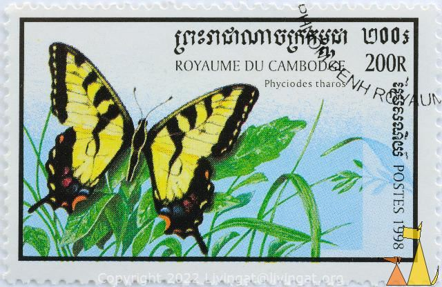 Pearl Crescent, Royaume du Cambodge, Cambodia, stamp, insect, butterfly, Postes, 1998, 200 R, Phyciodes tharos