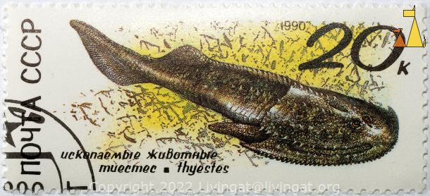Perhaps Thyestes spp, CCCP, Russia, stamp, fish, fosile, Thyestes spp, Thyestes spp, 20K, 1990, Uckanaembie, xubumhbie, muecmec, thyestes