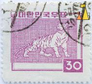 Pink Tiger, South Korea, stamp, mammal, cat, 30, Panthera tigris, pink