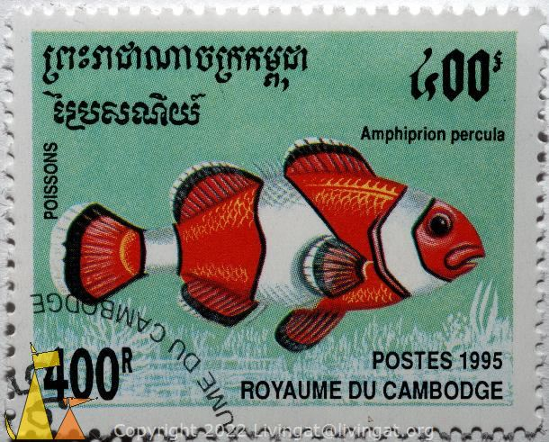 Poissons, Cambodia, stamp, fish, Postes, Royaume du Cambodge, Poissons, 1995, 400R, Amphiprion percula