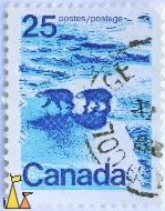 Polar BEars on the Ice, Canada, stamp, mammal, bear, Ursus maritimus, Postes, Postage, 25, ice, blue