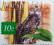 Powerful Owl, Australia, stamp, bird, 1996, 10 c, owl, Ninox strenua