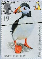 Puffin, UK, stamp, bird, RSBÅ, 1889-1989, 19 p, Queen Elizabeth II, Fratercula arctica