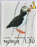 Puffin in Profile, Norge, Norway, stamp, bird, Fratercula arctica, 1.50. Lunde, VR, 1981