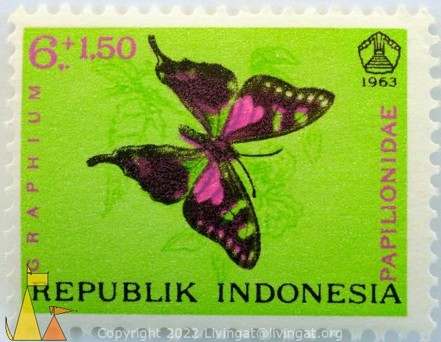 Purple Spotted Swallowtail, Republik Indonesia, Indonesia, stamp, insect, butterfly, 1963, 6+1.50, Graphium, Papilionidae, Papilionidae weiskei, Graphium weiskei