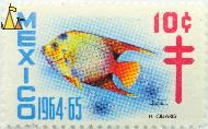 Queen Angelfish, Mexico, stamp, fish, 1964, 1964.65, 10 c, Holacanthus ciliaris