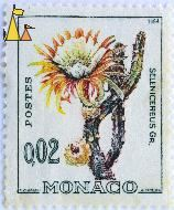 Queen of the Night, Monaco, stamp, flower, 0.02, A Freres. E Clerissi, Postes, 1964, Selenicereus gr, Selenicereus grandiflorus