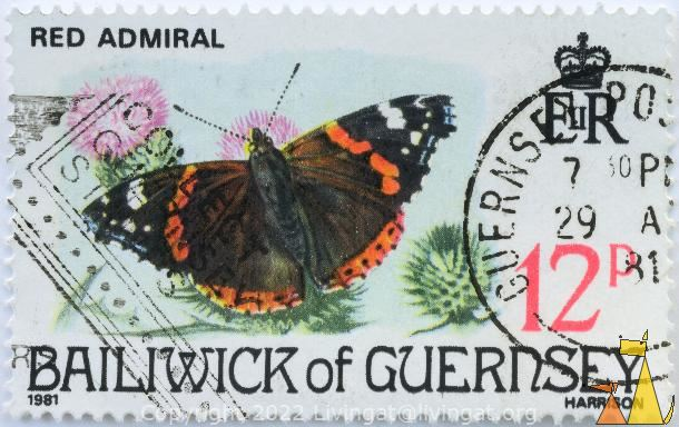 Red Admiral, Bailiwick of Gurnsey, Gurnsey, stamp, insect, butterfly, 1981, Harrison, 12 P, EIIR, Vanessa atalanta