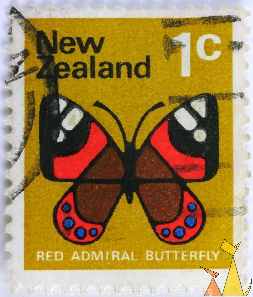 Red Admiral Butterfly, New Zealand, stamp, insect, butterfly, Vanessa gonerilla, 1 c