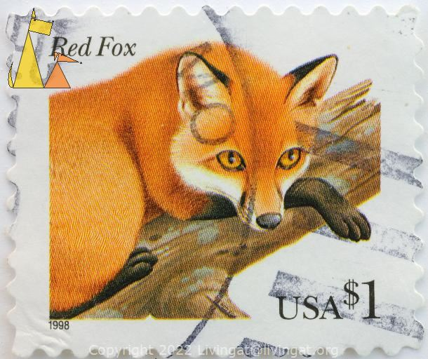 Red Fox in a Tree, USA, stamp, mammal, Vulpes vulpes, $1, 1998