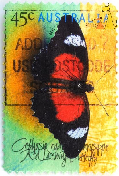 Red Lacewing, Australia, stamp, insect, butterfly, 1998, 45 c, Cethosia biblis
