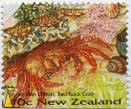 Red Rock Crab, New Zealand, stamp, 40 c, Snake Skin Chiton, Red Rock Crab, Cancer productus, Sypharochiton pelliserpentis