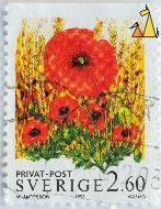 Red Weed, Sverige, Sweden, stamp, plant, flower, privat, post, 2.60. Vallmo, 1993, M Jacobson, Papaver rhoeas, Hordeum vulgare