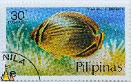 Redfin butterflyfish, Pilipinas, Philippines, stamp, fish, 30 s, Postage, Chaetodon trifasciatus