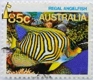 Regal Angelfish, Australia, stamp, coral, fish, 85 c, Pygoplites diacanthus