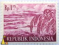 Rice in Wine, Republik Indonesia, Indonesia, stamp, plant, farming, crop, 1.15 Rp, Padi, Oryza sativa