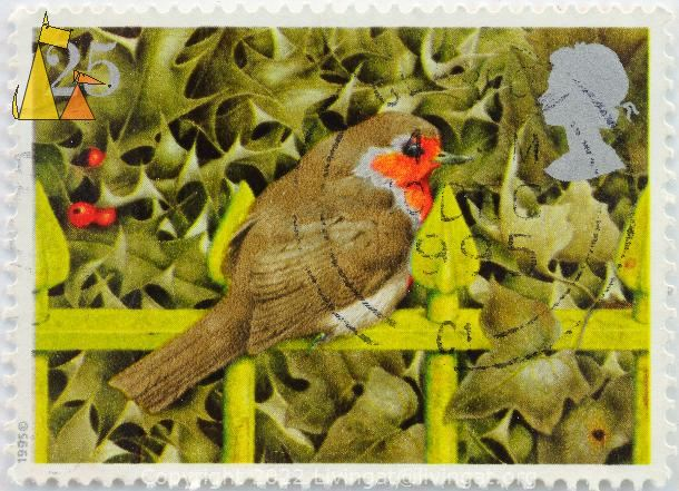 Robin, UK, stamp, bird, 25, 1995, Queen Elizabeth II, fence, Erithacus rubecula
