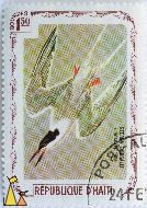 Roseate Tern, Republique D'Haiti, Haiti, stamp, bird, 1.50 Gourdes, Sterna dougallii, flying