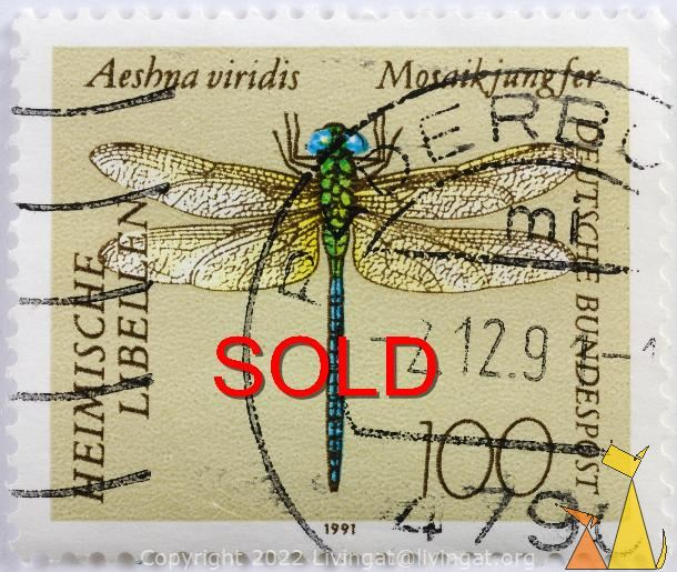SOLD Green Hawker, Deutsche, Germany, SOLD, stamp, insect, dragonfly, 1991, 100, Heimische libellen, Mosaikjungfer, Bundespost, Aeshna viridis