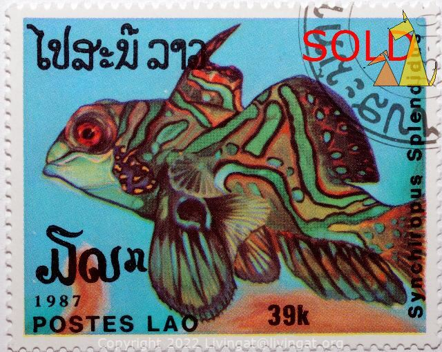 SOLD: Mandarinfish, Lao, Laos, SOLD, stamp, fish,Postes, 1987, 39 k, Synciropus splendidus, Synchiropus splendidus, Mandarinfish