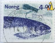 Samlmon and Fly, Noreg, Norway, stamp, fish, Salmo salar, fishing, 4.00, Enzo Finger, 1999